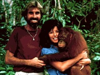 David and Evelyn in Borneo where they volunteered on the Orangutan Project in 1984/1987/1997 - Discovery Beach House