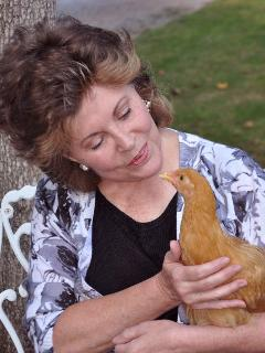 Me with my favorite chicken; Sophie - Nate & Rhonda Powell