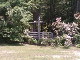 The outdoor chapel. A great place for a wedding. The Mountain Laurel is incredibly beautiful. - The Woods at Buc