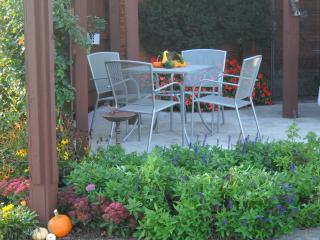 Private patio with gas grill and seating - Janell and Paul Davenport