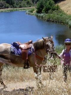 Rosy & Connie at Horseshoe lake, a favorite trail ride - Connie DeJong