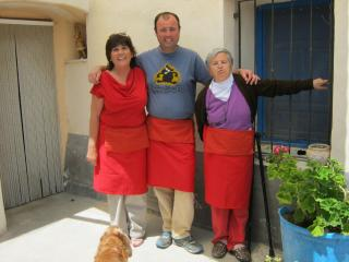 Proprietor Jen with helpers, Abel and Federica.  Federica on the right made the lovely red aprons. - Jennifer Hilda Lock