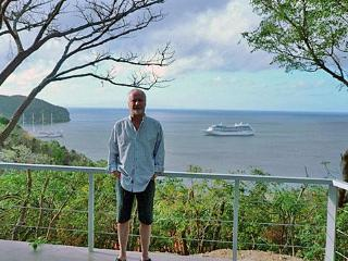 On the terrace of my Latin America Home overlooking the Pacific Ocean with cruise ship arriving - Victor Nelson