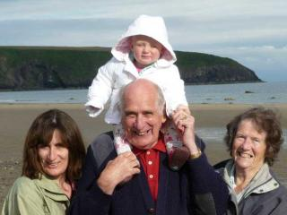 The Rees family - Alan and Rita (ctr and rt) are usually on hand at Pine Grove - Cardigan Cottages