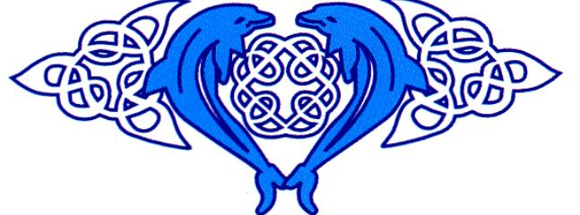 Our logo referencing the beautiful local dolphins - Cardigan Cottages