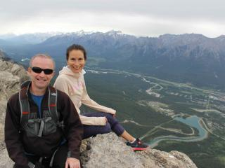 Mike and Rachel after a hike up Ha Ling in Canmore - Leavetown.com