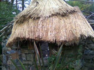 Thatched tower-folly in garden. - Peter OConnor