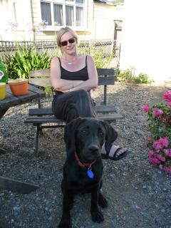 Roz and Pepper the puppy - well behaved dogs are welcome at Strupak Cottage - Roz