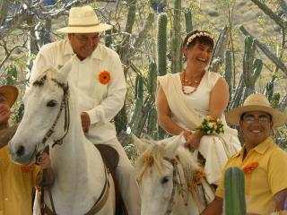 Mary Jane and Bobby were married on horseback at the ranch Rancho Pitaya - Mary Jane Gagnier and Bobby Ortiz