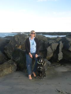 Lynn with Jakie on Hampton Beach - Lynn Grainger