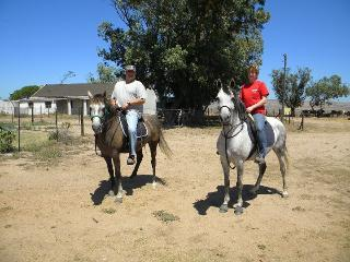 Me on the right, with a friend on a horseback ride - Heidi Maritz