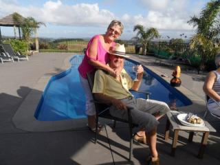 Janet & Jim at a friends pool - Janet Pugh