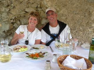 Here we are, enjoying a fabulous lunch in Ravello Italy - Janice Shallin & Bill Vickers (wife & husband)