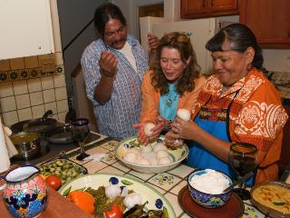 Wendy cooking with friends from San domingo pueblo - Two Casitas