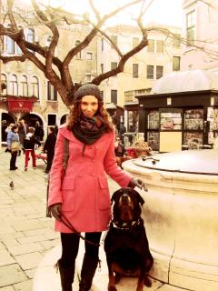 My lovely dog Black Mamba and I during a cold winter venetian afternoon  - Chantal