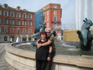 John and Kathy on vacation in Nice, France - Kathy and Aaron