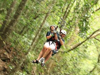 Zipline in Mexico - Pam and Randy LaBonte