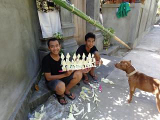 Our neighbours with their hand made Penjor decoration - Angel Villa Bali