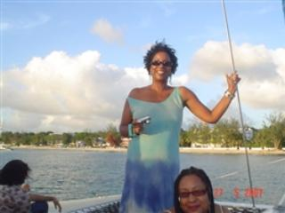 Me on a boat - Barbados Living - Joan Leacock