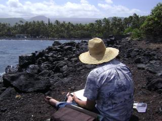 Ron is painting at Black Sand Beach! - Kona Leilani Vacation Home