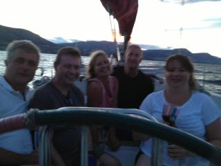 Aileen and Duncan sailing with friends on Okanagan Lake - Aileen Houston