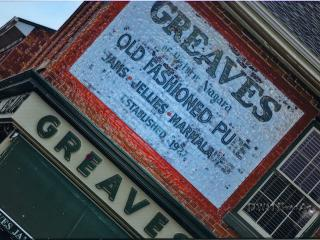 Antique Billboard of circa 1845 Greaves Jams building - Greaves Sweet Escape
