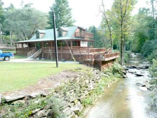 2Br Log Cabin, Deck 7' above & 2' away from RIVER - Bat Cave vacation rentals