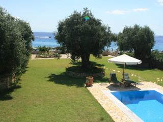 Luxury beach front villa with private pool and a 1500 s.m lown and olive tree garden extending to the sea - Corfu vacation rentals