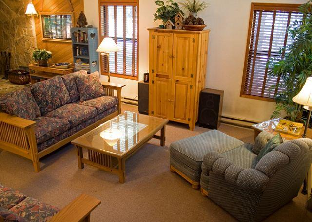 Living Room - Popular Sunriver Home in Wooded Surrounding and Hot Tub Near SHARC - Sunriver - rentals