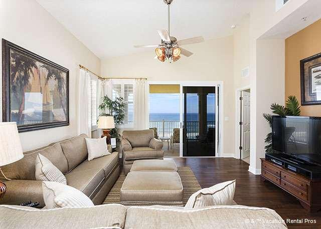 Spacious bright living room has ocean views and HDTV - 661 Cinnamon Beach, 6th Floor Penthouse, Huge Corner, HDTV, Wiif - Palm Coast - rentals
