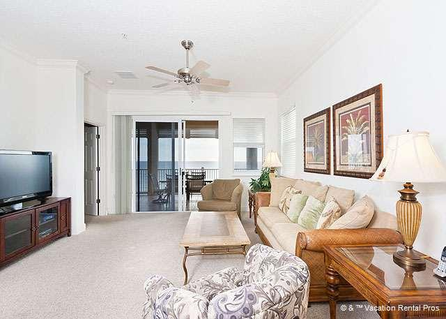 Stretch out in the bright and open living room - 655 Cinnamon Beach 5th Floor Beach Front Corner Condo Huge HDTV - Palm Coast - rentals