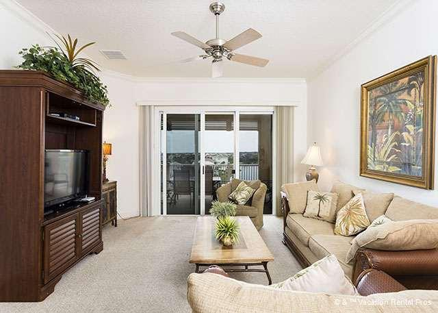 Relax and unwind in our elegant living room - 1154 Cinnamon Beach, 5th Floor, HDTV, Wifi, Elevator, 2 Pools - Palm Coast - rentals
