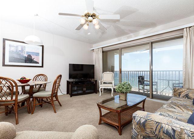 View of the gulf from the condo livingroom - ETW 5004: MUST SEE beachfront condo- balcony, flatscreen TVs, WiFi, Beach SVC - Fort Walton Beach - rentals