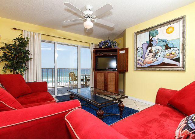 Living Room - GD 416: Exquisite beach condo-garage parking, WiFi, BBQ, tennis, FREE BCH SVC - Fort Walton Beach - rentals