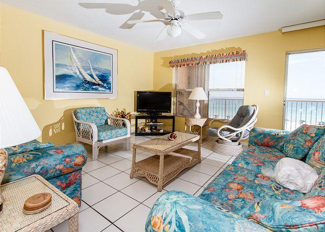 Living Room - Condo#4007 Exquisite beachfront condo- FREE beach service+snorkeling+movies - Fort Walton Beach - rentals