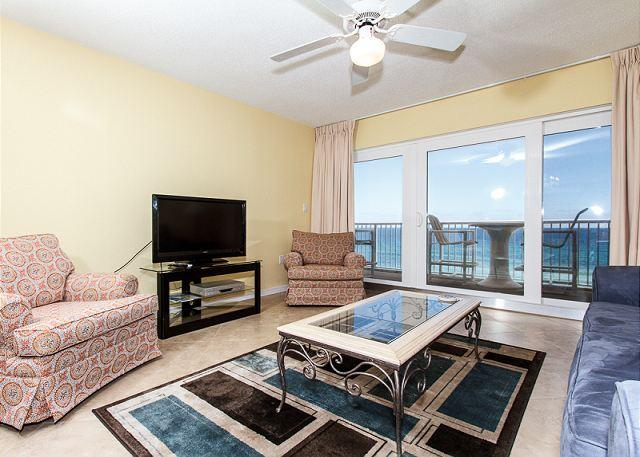 Brand new living room as of April 2013! fresh paint, new furnitu - Condo #7012 - EVERYTHING NEW APRIL 2013, FREE BEACH SERVICE, TOP FLOOR 3BR - Fort Walton Beach - rentals
