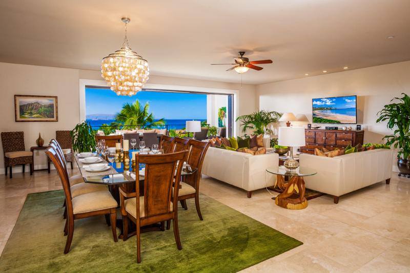 Ocean View Great Room with Indoor Dining for Eight, Large HDTV, HD Cable, DVD/CD, Sofa Seating for Eight Guests, Alfresco Veranda with Grill, Dining and Lounging - Blue Horizons K308 Wailea Beach Villas - Wailea - rentals