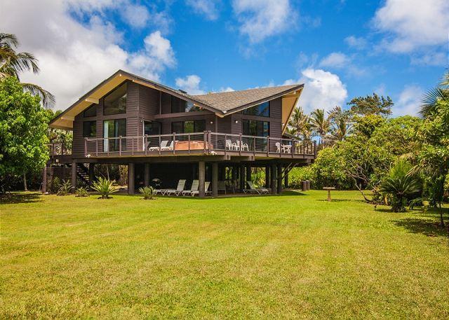 15% off July 1 - 5! Sandcastles, Aliomanu, Beachfront Estate with Hot Tub! - Image 1 - Anahola - rentals