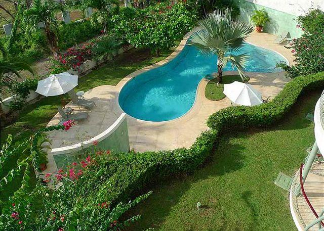 Pool and grounds - Luxury hillside condo- small loft, oceanview, kitchen, shared pool, gas grill - Tamarindo - rentals