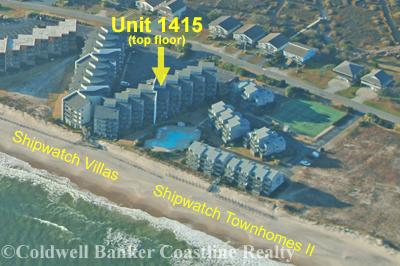 Aerial view showing location in Shipwatch Villas - Shipwatch 1415 - North Topsail Beach - rentals