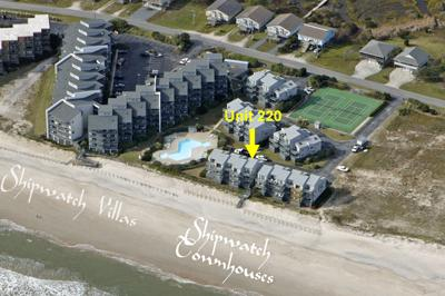 Aerial photo showing location of Unit 220 - Shipwatch Townhomes II 220 - North Topsail Beach - rentals