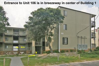 Bldg 1 Topsail Reef w/ entrance to Unit 106 shown - Topsail Reef 106 - BLD 1 - North Topsail Beach - rentals
