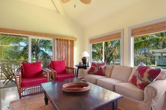 living room  - Regency Villas 221 - Spacious 4 bed / 3 bath condo, top of the line furnishings, amenities and AC - Poipu - rentals