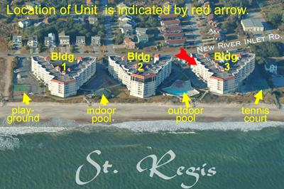 Aerial photo showing location of Unit 3403 - St. Regis 3403 - North Topsail Beach - rentals