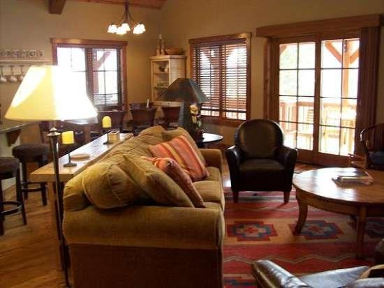 Living Room is bright and filled with personalized furnishings - LoneTree 20 4 Bedroom, 4 Bath Chalet - Sleeps 10. WIFI. - Tamarack Resort - rentals