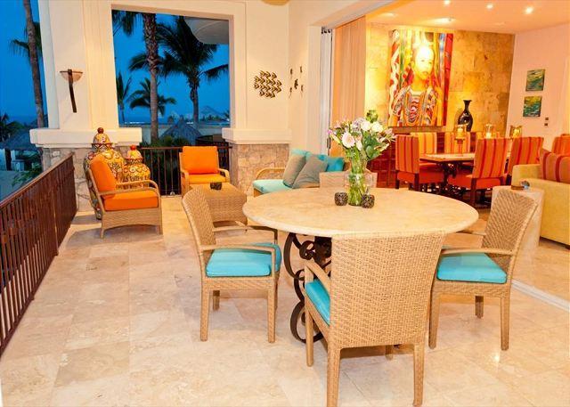 Main Terrace - Villa Lucero - 3BD/3.5BA Ocean View Condo Sleeps 8 Pool/Jacuzzi, in Esperanza - Cabo San Lucas - rentals