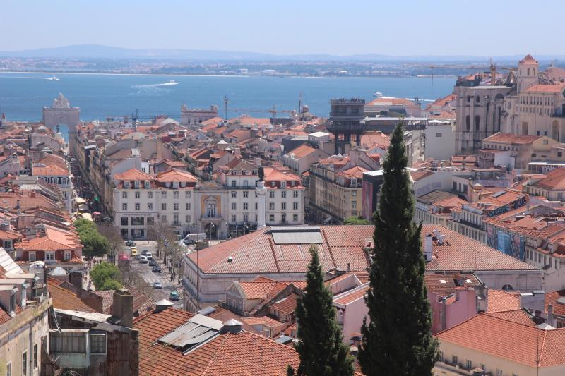 Looking south from the terrace, over the Baixa, to the Tejo River - Casa Villa Serra - Spectacular 180 View, free WiFi - Lisbon - rentals