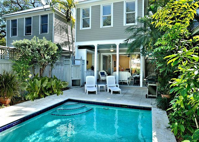 "Private Heated Pool With Loungers and Outdoor Sitting / Eating A - ""ISLAND OASIS""  Luxury 2 BR 2 Bath Townhome w/ Pvt Heated Pool & Pvt Parking - Key West - rentals"
