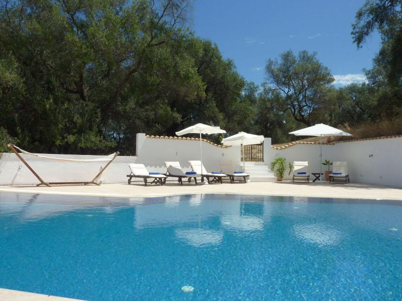Your own private pool surrounded by Olive trees. Steps at from pool area lead onto olive grove. - Villa Linakis,  Arillas, Corfu, Ionian Islands. - Corfu - rentals