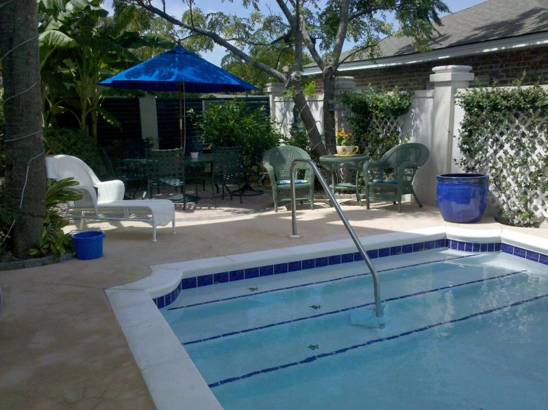 "Pool Area with lounges, table & chairs - ""The Fiddler"" Sleeps 2 or 4, walk to beach & pool - Tybee Island - rentals"